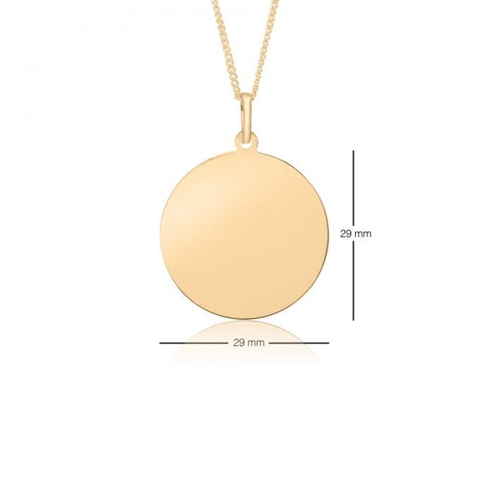 29mm Diameter Yellow Gold Round Dog Tag