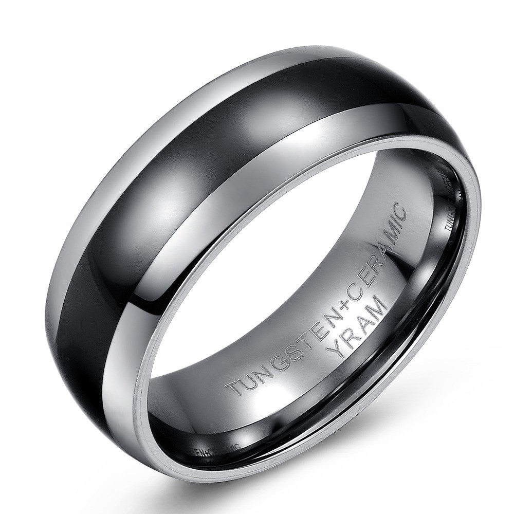 Comfort Fit Tungsten and Black Ceramic Wedding or Fashion Ring