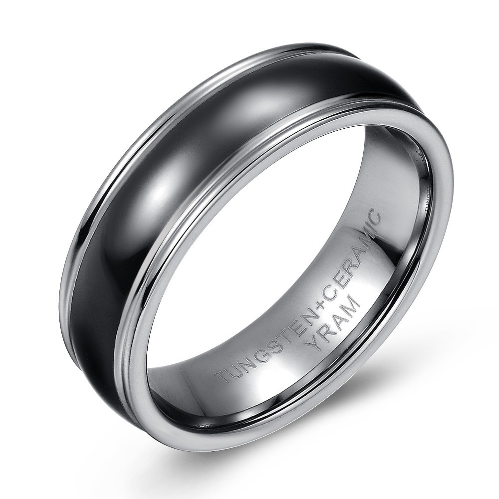 Domed Tungsten and Black Ceramic Wedding or Fashion Ring