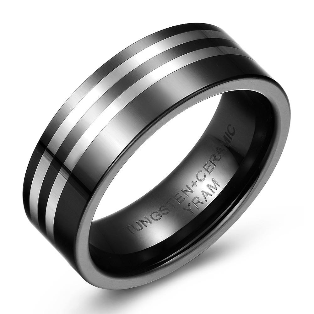 Mirror Finish Tungsten and Ceramic Striped Wedding or Fashion Ring
