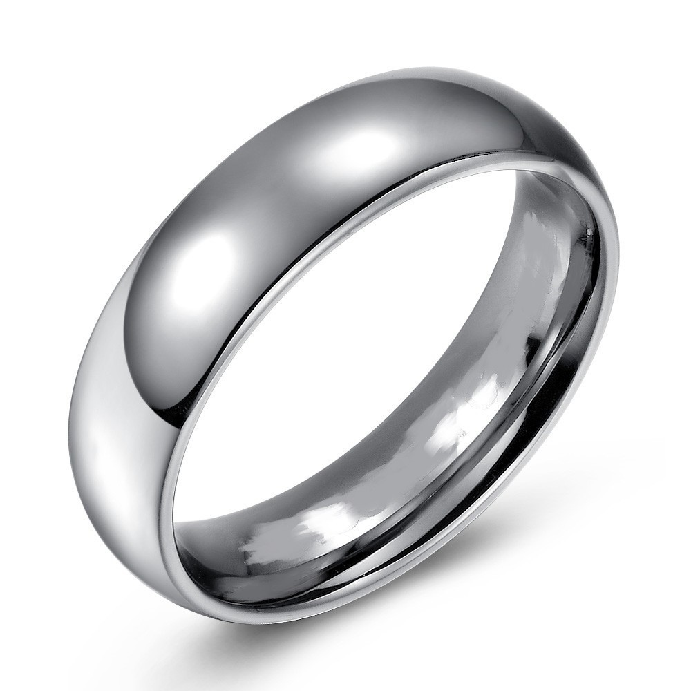 High Polished Domed Titanium Wedding or Fashion Band - 6MM