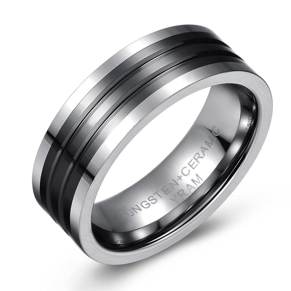 Black Ceramic and Tungsten Striped Wedding or Fashion Ring