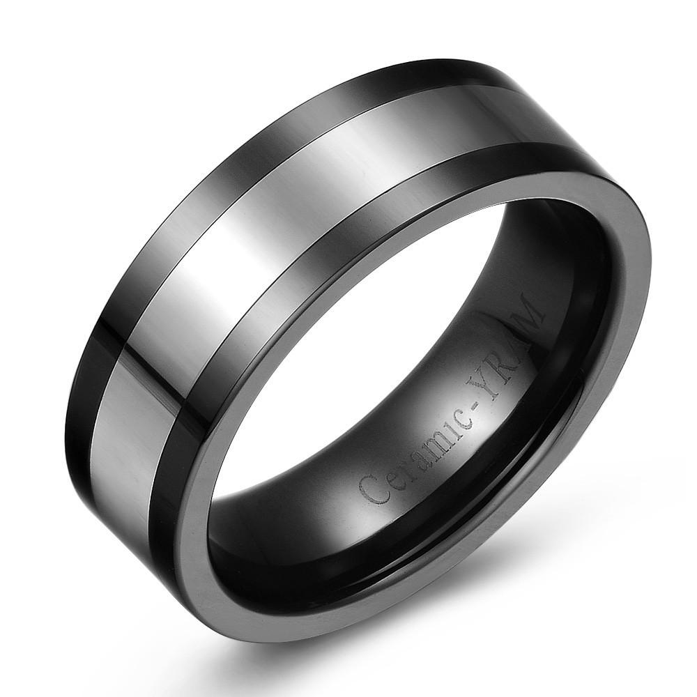 Tungsten Wedding Band with Black Ceramic Edge