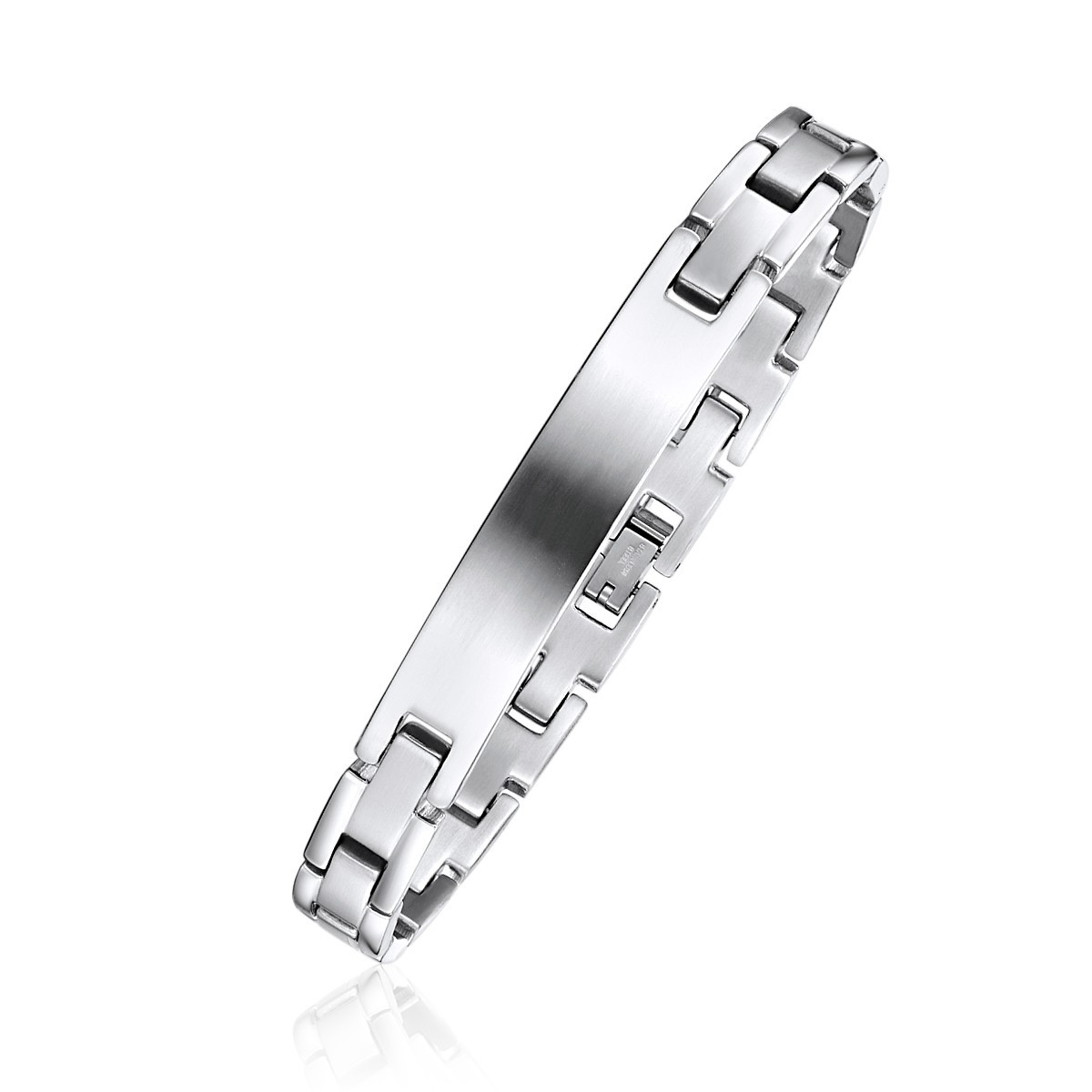 Brushed Finish Brick Link Engravable ID Bracelet