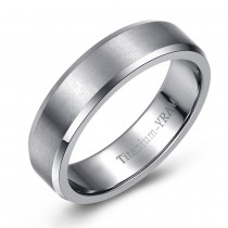 Beveled Engravable Titanium Ring – Brushed Finish