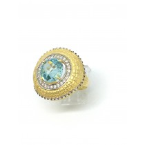 14K Yellow Blue Topaz Halo Ring