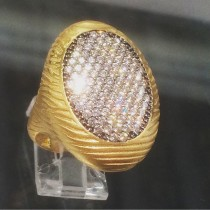 14K Yellow Cocktail Ring with Cubics
