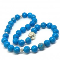 Howlite Turquoise Bead Necklace with Spacers