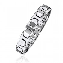 "High Polished Tungsten Magnetic Therapy Bracelet with ""I"" Links"