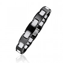 Men's Black and White Ceramic Magnetic Therapy Bracelet
