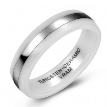 White Ceramic and Tungsten Center Wedding or Fashion Ring