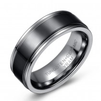 Tungsten Ring with Black Ceramic Accent Band – Flat Surface