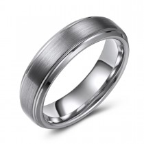 Brushed Tungsten Wedding or Fashion Ring - 6MM