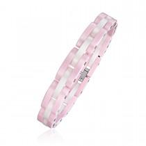Ladies Pink and White Ceramic Brick Link Bracelet