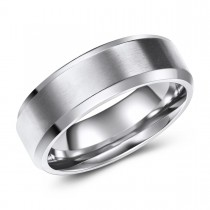 Engravable Beveled Edge Titanium Ring