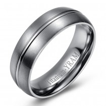 Brushed Titanium Band with High Polished Line