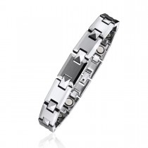 Alternating Faceted Puzzle Piece Magnetic Therapy Bracelet in Tungsten