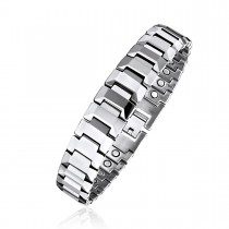 High Polished Men's Magnetic Therapy Bracelet in Tungsten