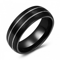 Black Doubled Lined Tungsten Wedding or Fashion Band - 8MM
