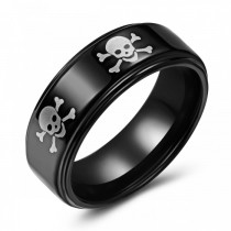 Black Skull and Crossbones Tungsten Wedding or Fashion Ring
