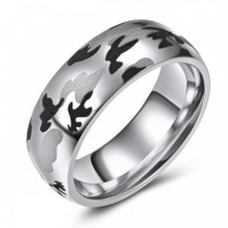 Camouflage Cobalt Wedding or Fashion Band - 8MM