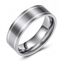Two-Toned Gray Stripe Flat Engravable Titanium Ring