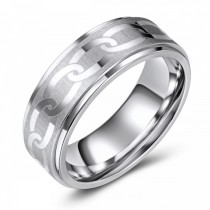 Chain-Link Etched Cobalt Wedding or Fashion Ring - 8MM