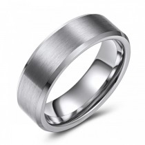 Matte Finish Beveled Edge Tungsten Wedding or Fashion Ring - 7MM