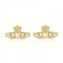 10K Yellow Gold Claddagh Stud Earrings