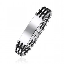 High contrast Runn and Stainless Steel Engravable ID Bracelet