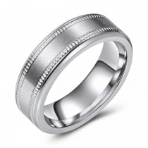 Milled Edged Matte Cobalt Wedding or Fashion Band - 7MM