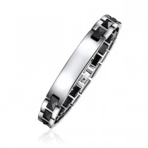 Engravable Faceted Contrasting ID Bracelet
