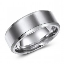 Beveled Edge Brushed Finish Titanium Ring - Engravable