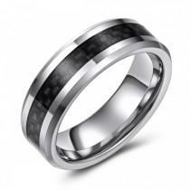Carbon Fiber Inlaid Tungsten Wedding or Fashion Band - 7MM