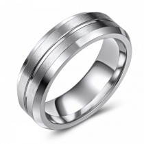 Grooved Cobalt Wedding or Fashion Band - 7MM