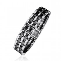 Black Ceramic and Steel Alternating Brick Link Bracelet