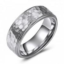 Hammered Tungsten Wedding or Fashion Ring - 8MM