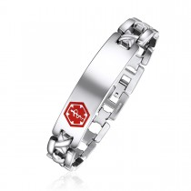 Steel Engravable Medical ID Bracelet with Red Enamel Caduceus