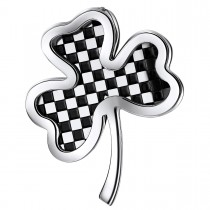 Checkered Clover Pendant – Black and White