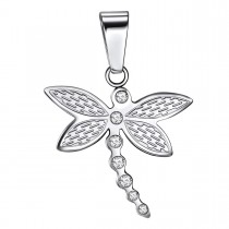 Rhinestone Dragonfly Pendant in Stainless Steel