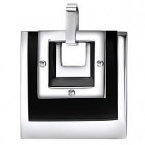 Geometric Contrasting Square Pendant