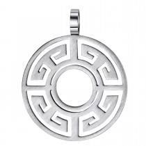 Stainless Steel Greek Key Shield Pendant