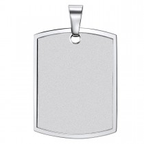 Wide Stadium Shaped Engravable Steel Dog Tag