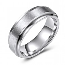 Matte Finish Beveled Edge Cobalt Ring