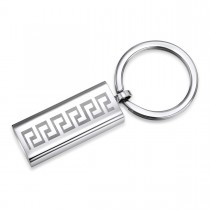 Engravable Stainless Steel Greek Key Keychain
