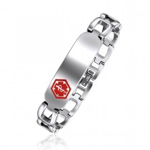 High Polished Engravable Horseshoe Link Medical ID Bracelet