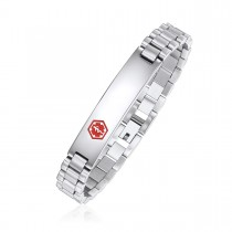 Ladies High Polished Brick Link Medical ID Bracelet - Caduceus