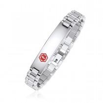 Ladies High Polished Brick Link Medical ID Bracelet - Caduceus