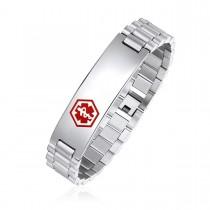 High Polished Caduceus Medical ID Bracelet