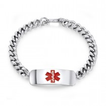 Ladies Engravable Caduceus Medical ID Bracelet in Steel